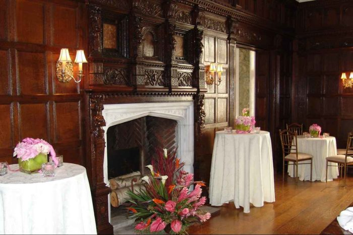 skylands castle dining room with fireplace