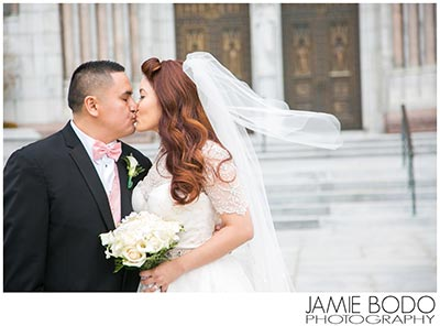 bride & groom share a kiss