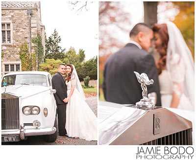 classic car skylands manor bride groom