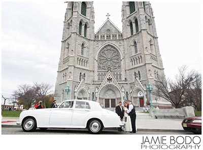 newark cathedral basilica of the sacred heart wedding classic car