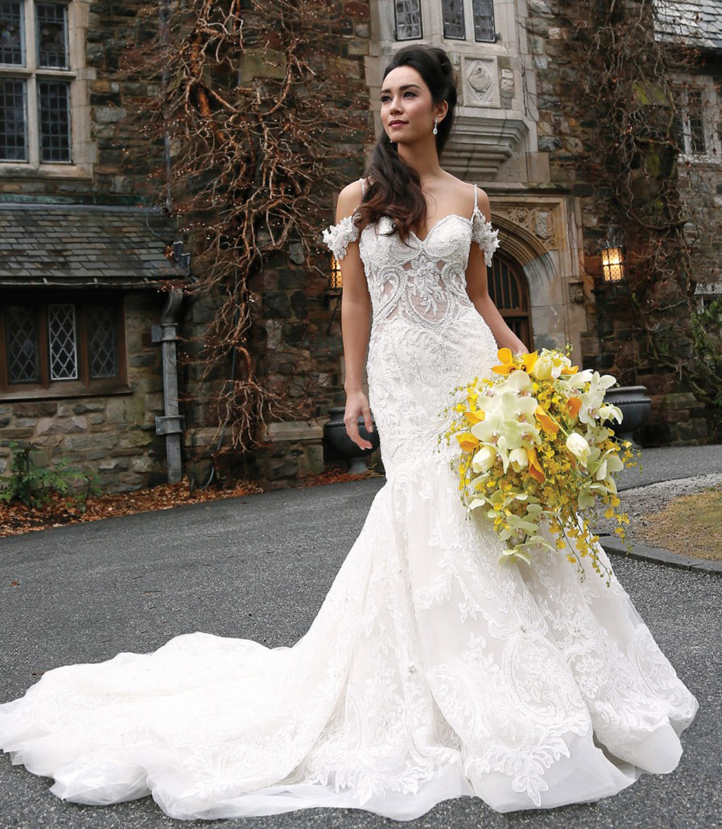 Bride wedding dress in front of skylands manner
