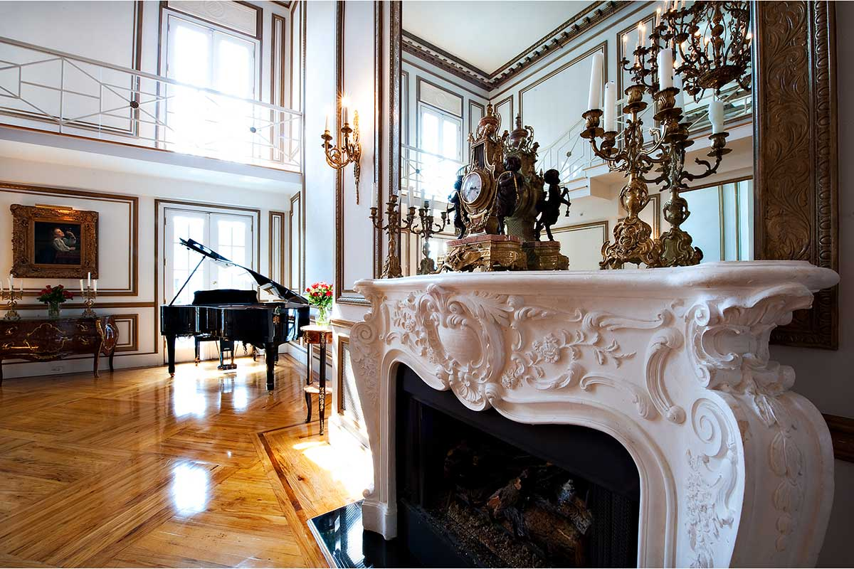 Grand Salon Fireplace Mirror and Piano