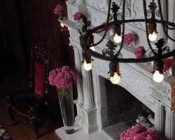 fireplace-pink-flowers