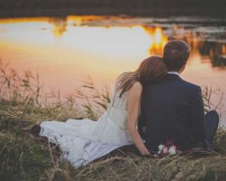 nj-bride-and-groom-by-pond-at-sunset