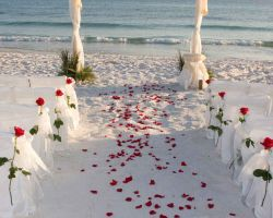 roses-on-walkway-on-beach-at-sunset